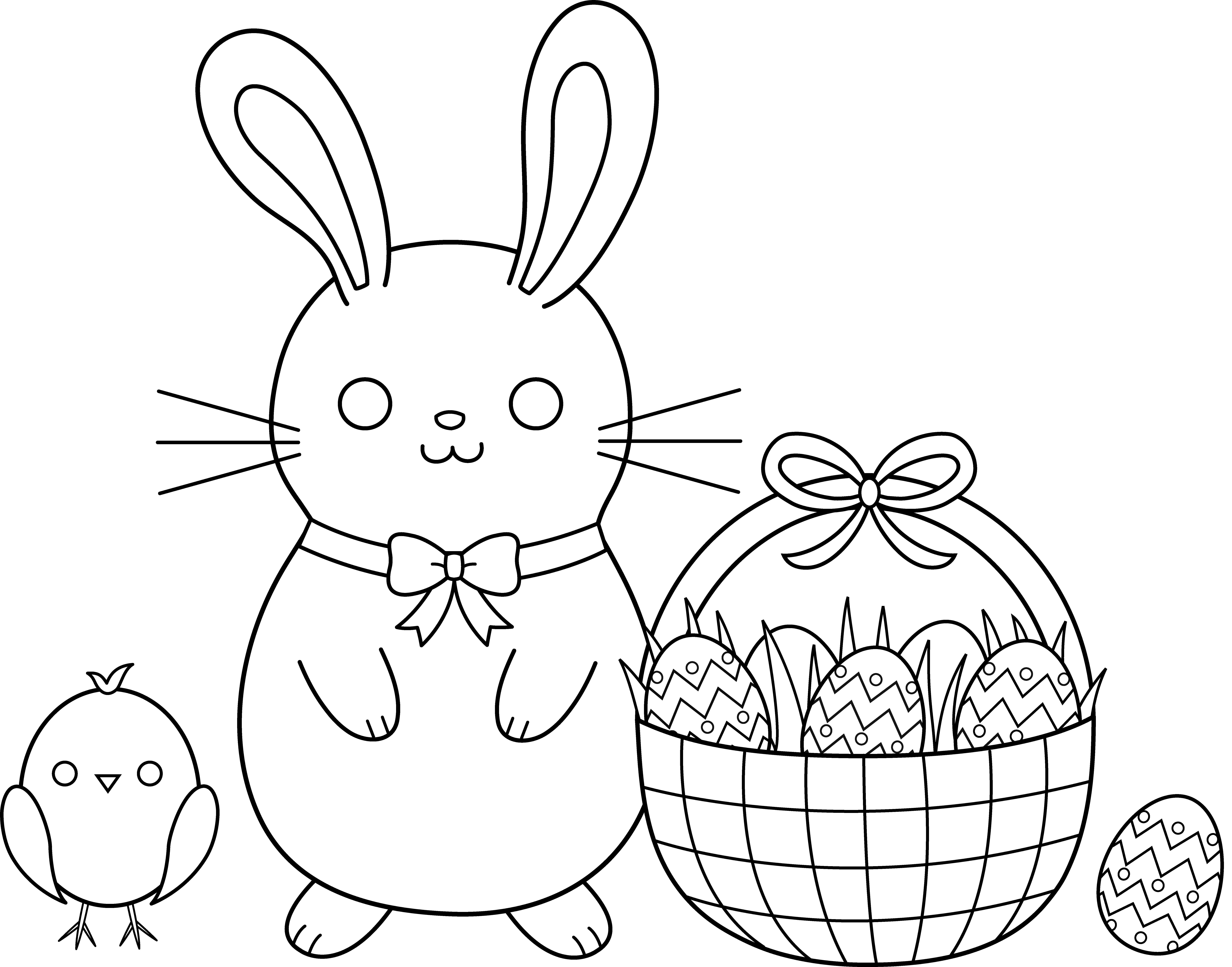 Easter egg hunt clipart black and white transparent Cute Easter Coloring Page - Free Clip Art transparent