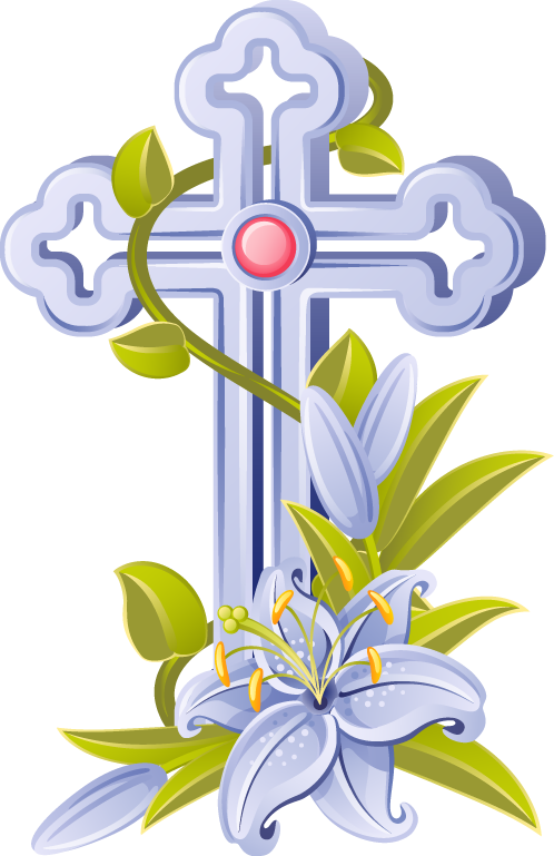 Religious easter christian coloring. Cross lilies clipart