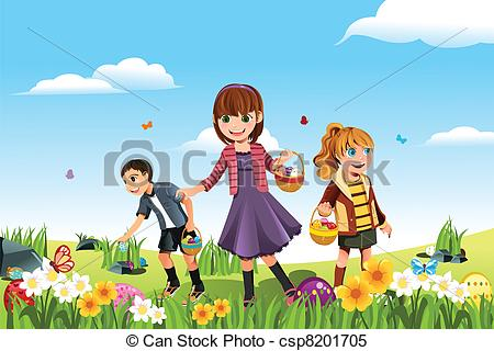 Clipart Vector of Easter eggs hunt - A vector illustration of kids ... vector black and white stock