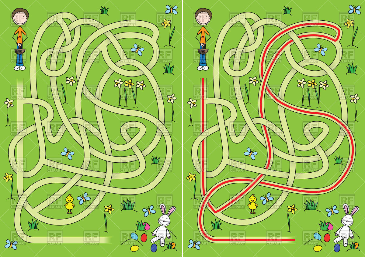 Easter egg hunt maze for kids with a solution Vector Image #65993 ... graphic download
