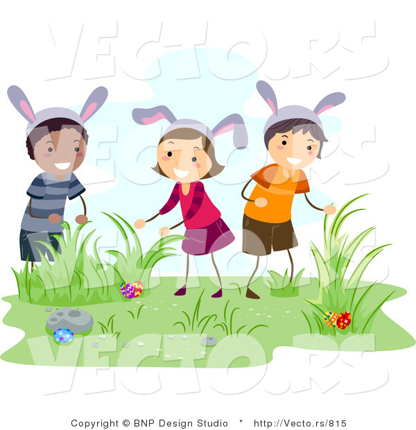 Clipart of kids hunting easter eggs - ClipartFest svg royalty free stock