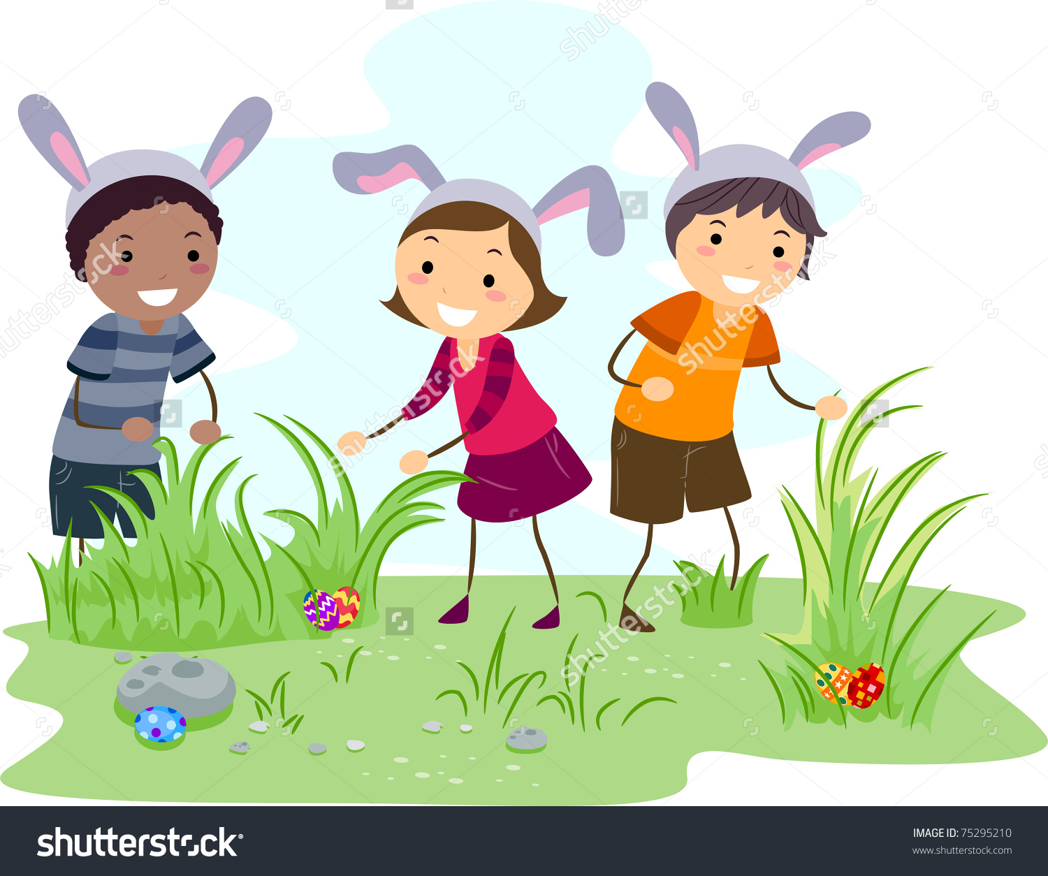 Illustration Kids On Easter Egg Hunt Stock Vector 75295210 ... image royalty free download