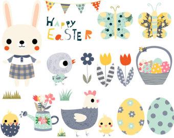 Easter chick clipart Cute chicken clipart Kawaii chicken clip art stock