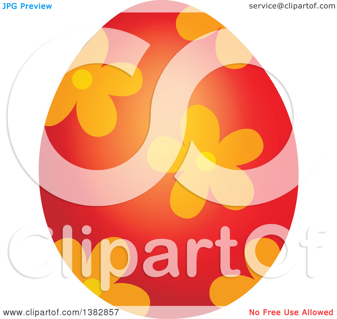 Easter egg jpg clipart jpg download Clipart of a Red Easter Egg with Flowers - Royalty Free Vector ... jpg download