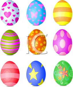 Easter egg row clipart jpg transparent library Picture: Three Rows of Colorful Easter Eggs jpg transparent library