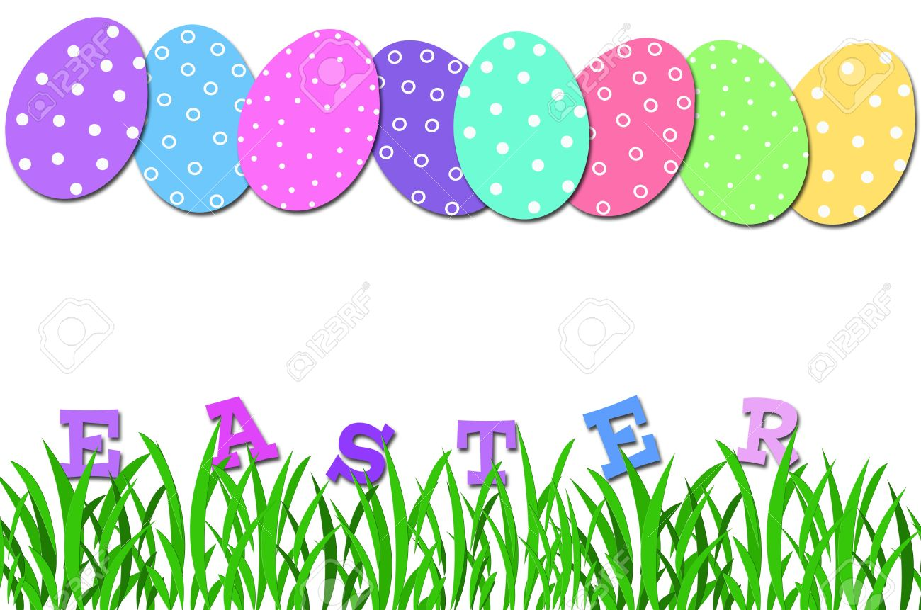 Easter egg row clipart png library stock Easter Card With Row Of Colorful Eggs In Dots And Letters In ... png library stock