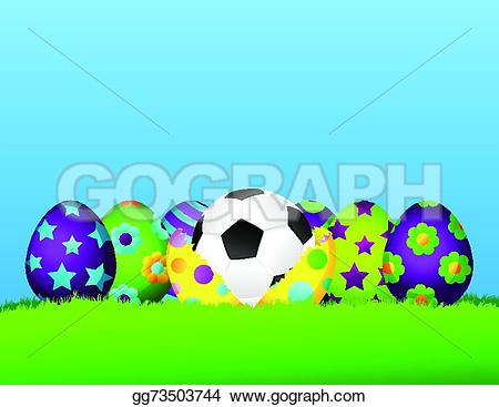 Easter egg row clipart clipart freeuse Vector Stock - Soccer or football easter egg row. Clipart ... clipart freeuse