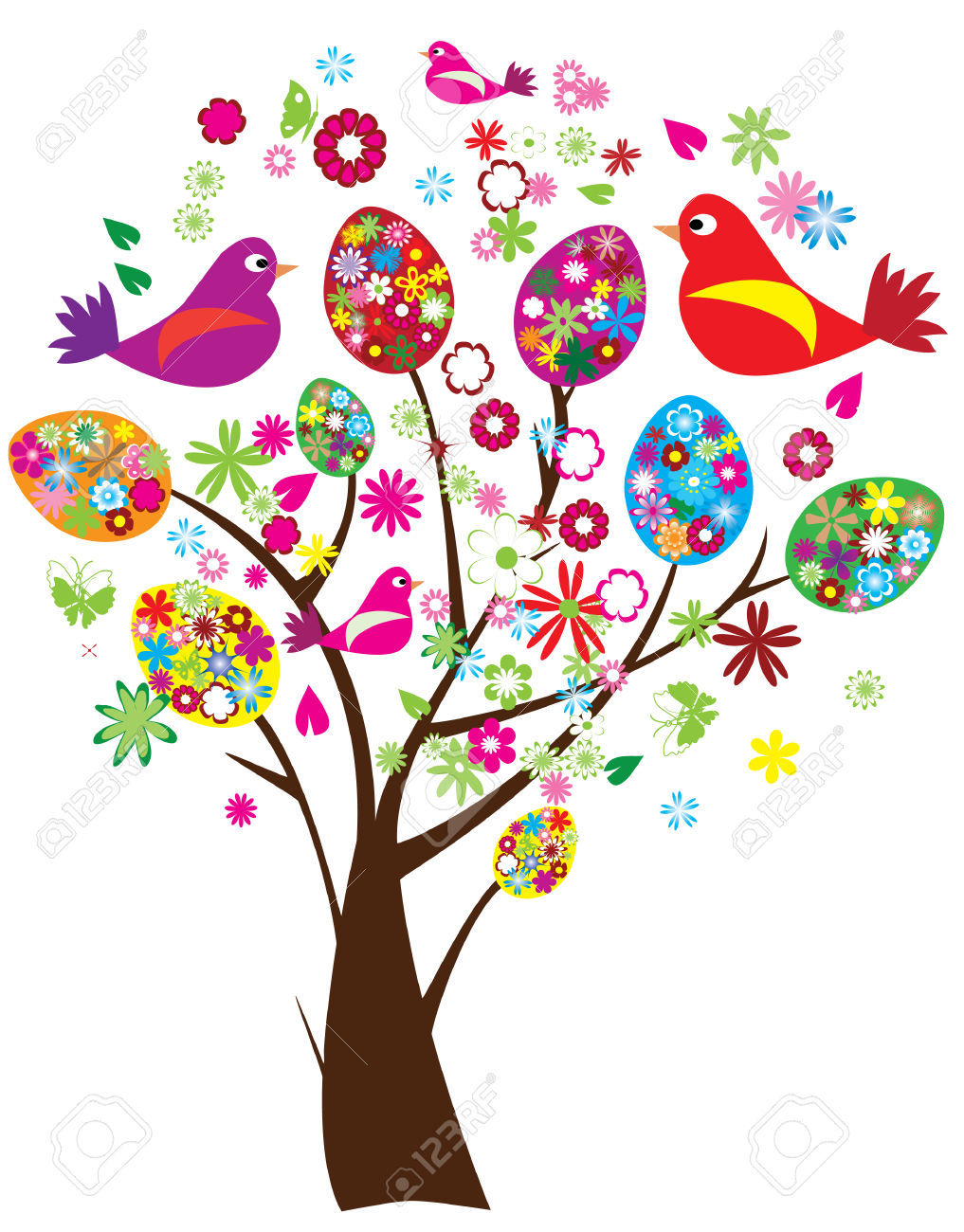 Easter egg tree clipart banner transparent stock Vector Easter Tree With Floral Eggs And Birds Royalty Free ... banner transparent stock