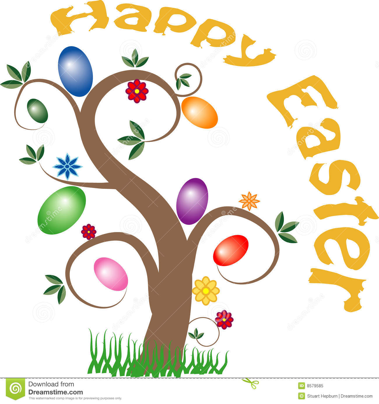 Easter egg tree clipart vector free download Happy Easter Tree Royalty Free Stock Photo - Image: 8579585 vector free download