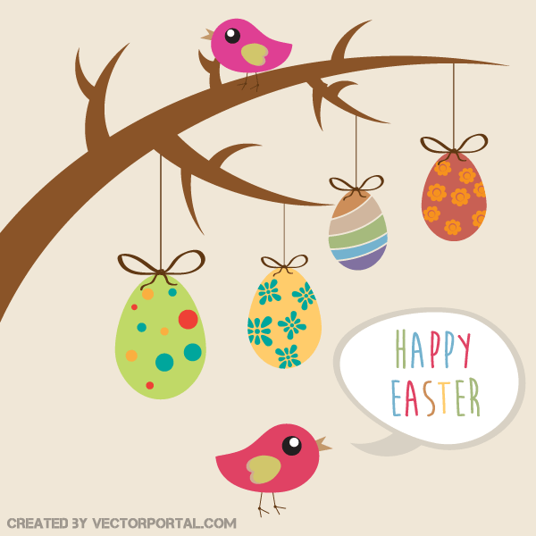 Easter egg tree clipart vector freeuse stock Happy Easter Greeting Card – Hanging Eggs from Tree Branch ... vector freeuse stock