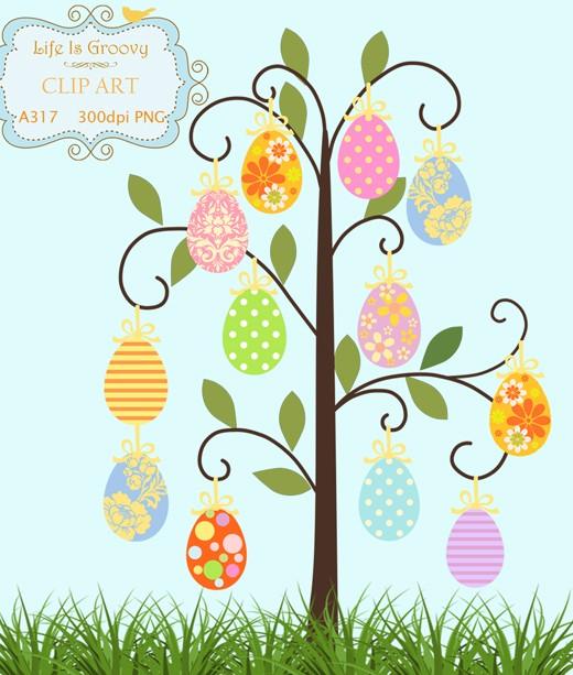 Easter egg tree clipart svg black and white stock Easter Tree Clipart - Clipart Kid svg black and white stock