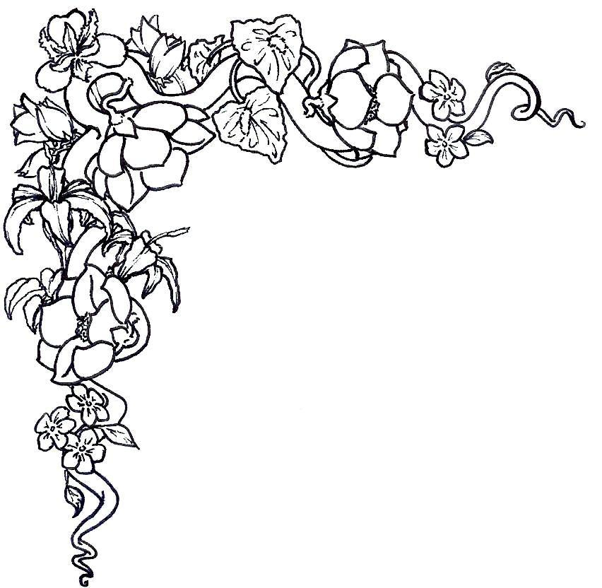 Easter flower border black and white clipart vector black and white download Free Black And White Flower Images, Download Free Clip Art, Free ... vector black and white download