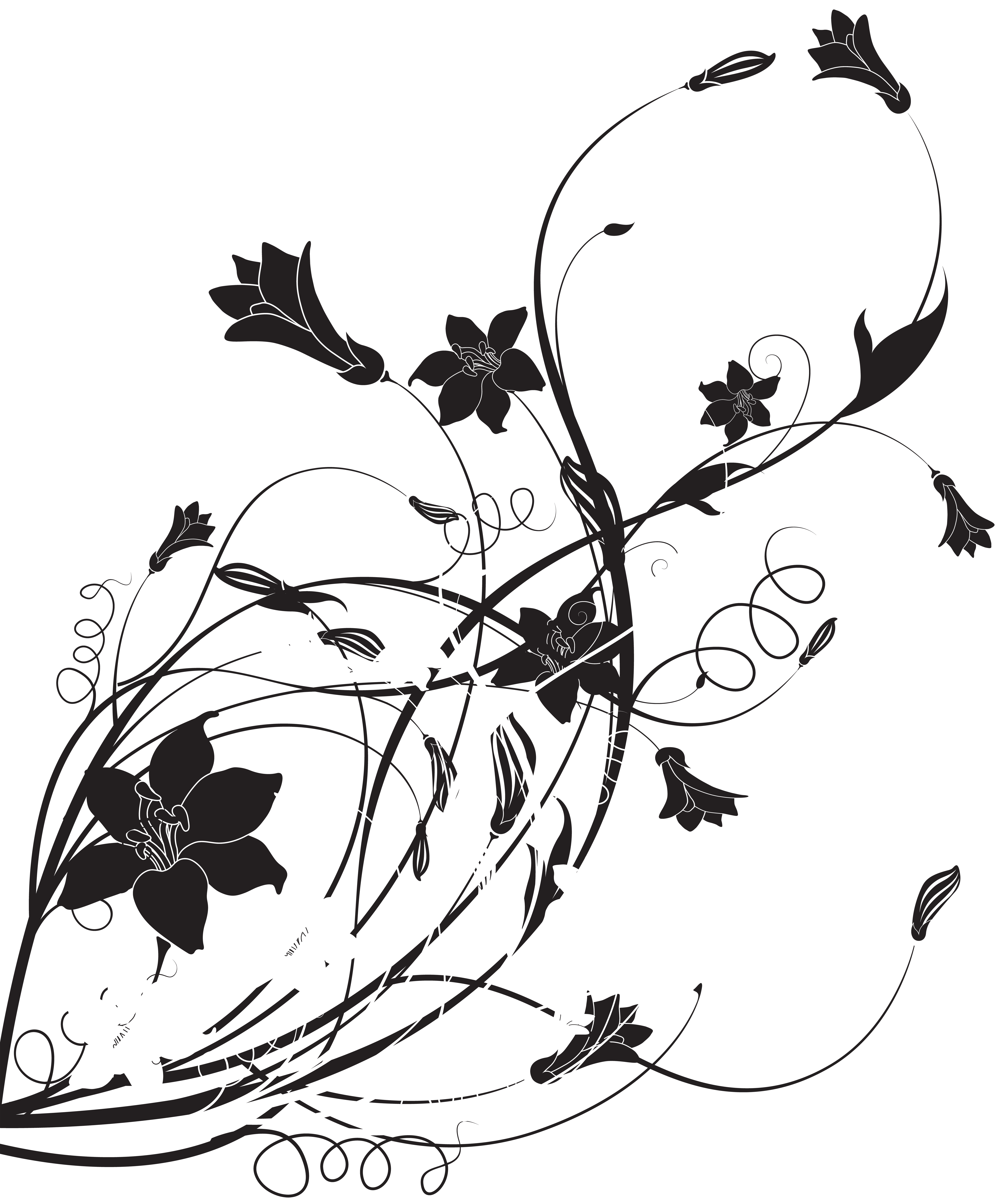 School bell clipart black and white picture library Black White Floral Decoration PNG Clip Art | Gallery Yopriceville ... picture library