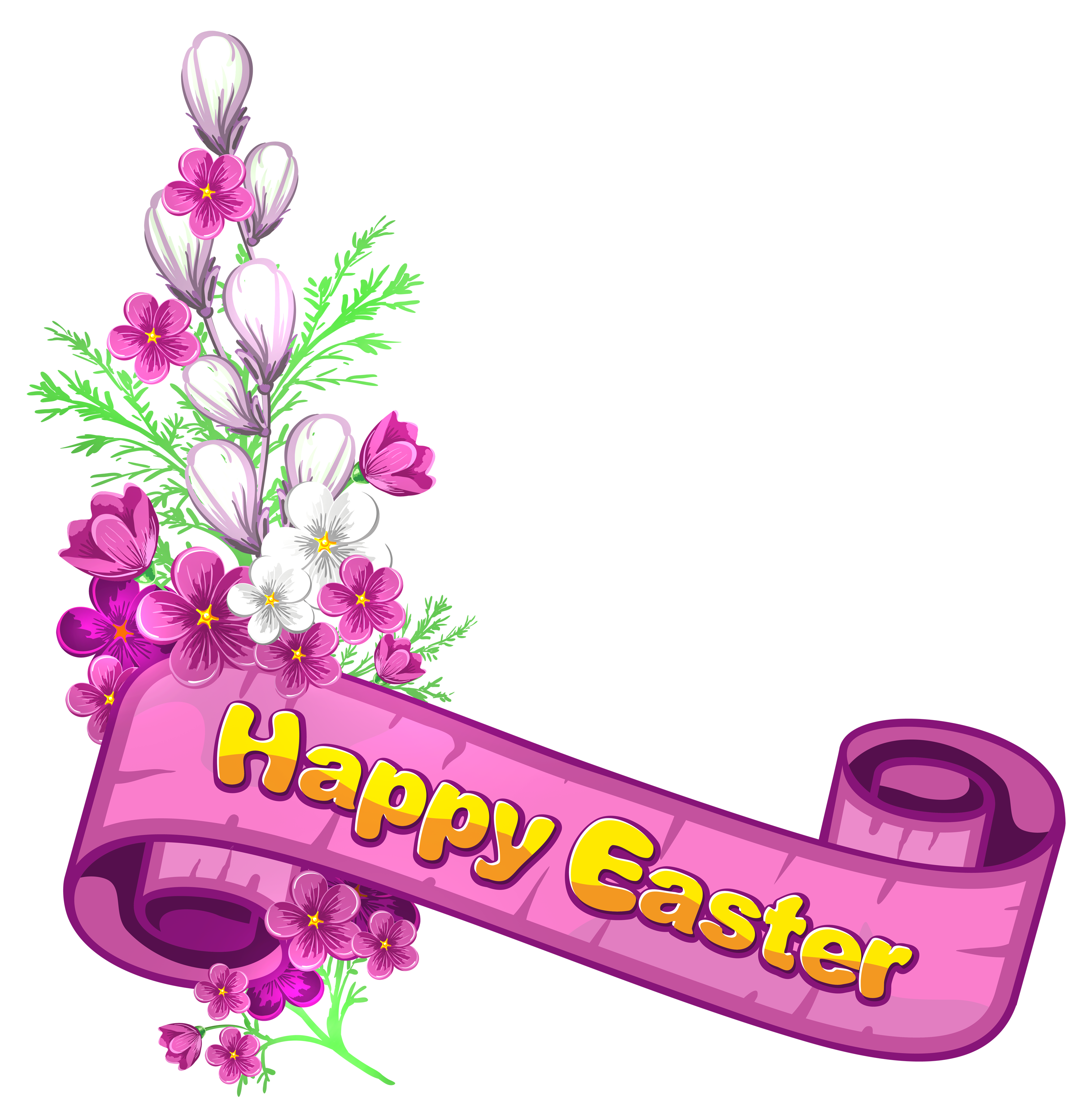 Happy easter cross clipart graphic freeuse Pink_Happy_Easter_Banner_and_Flowers.png?m=1399672800 graphic freeuse
