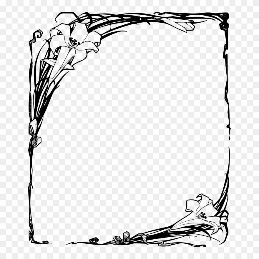 Easter lily border clipart clipart free download Easter Lilies Frame - Funeral Borders Design Png Clipart (#32542 ... clipart free download