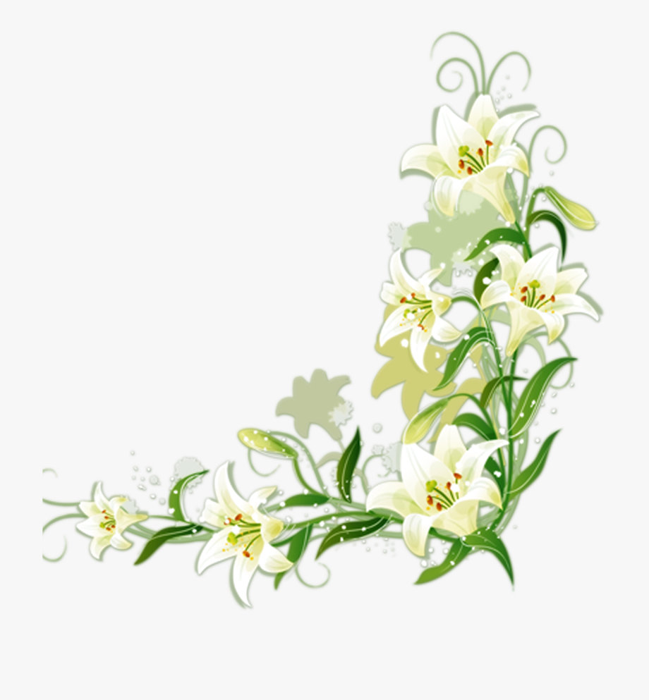 Easter lily border clipart free graphic black and white download Easter Lily Border Clipart - Lily Flower Border Design #254984 ... graphic black and white download