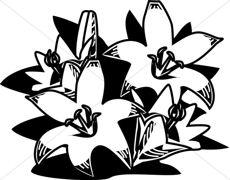 Easter lily spray black & white clipart clipart freeuse library Collection of Woodcut clipart | Free download best Woodcut clipart ... clipart freeuse library