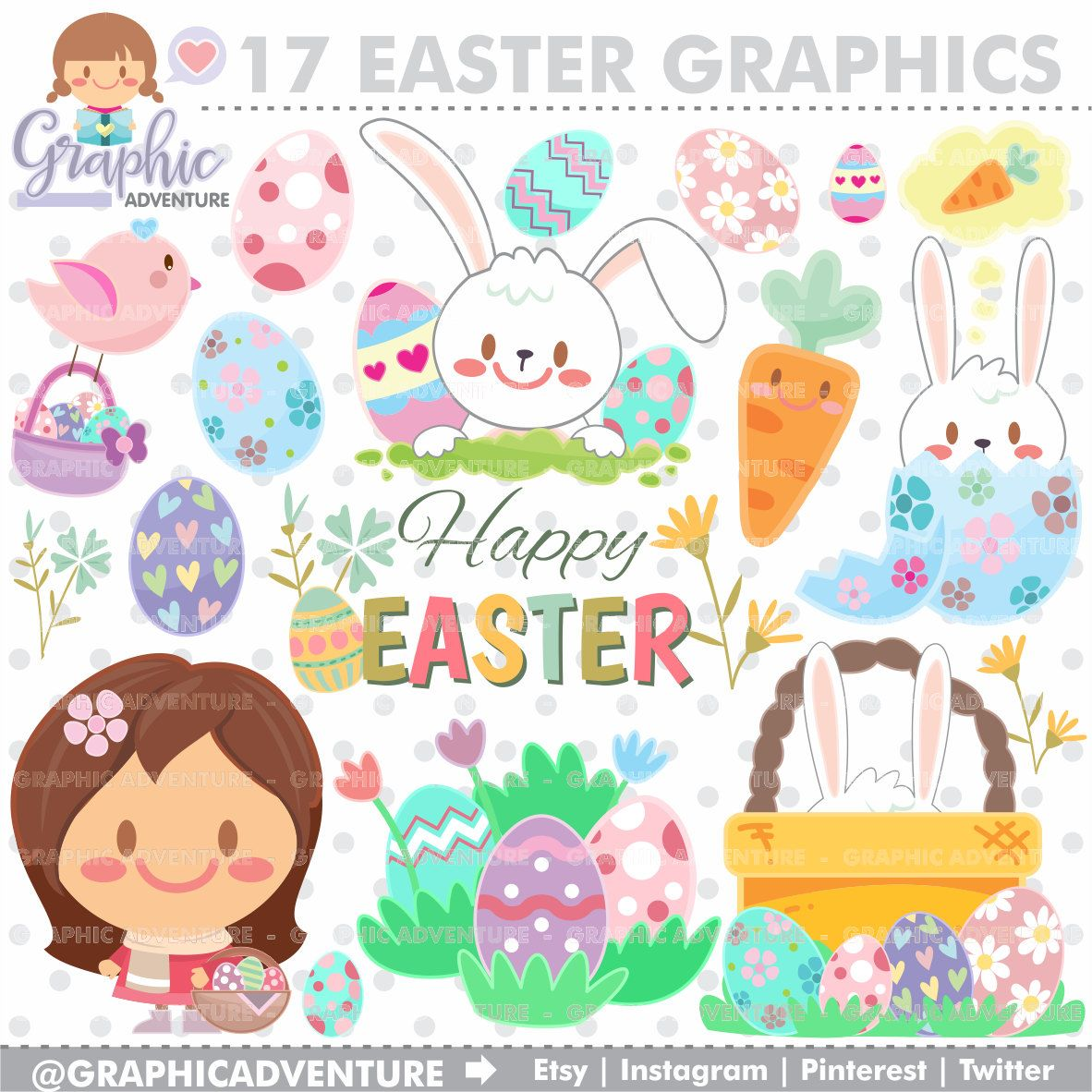 Easter party clipart svg black and white download Easter Clipart, Easter Graphics, Clip Art, COMMERCIAL USE, Kawaii ... svg black and white download