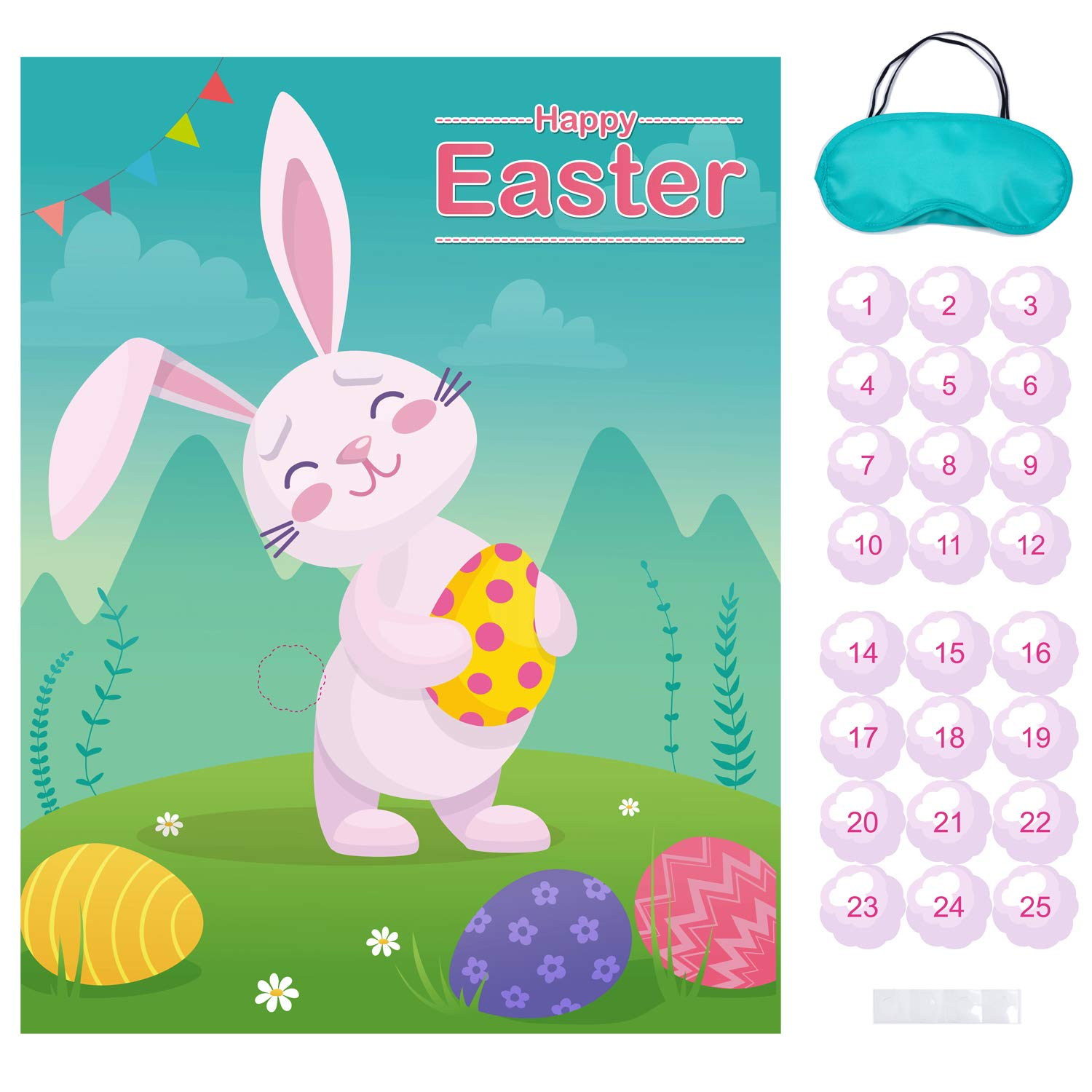 Easter party clipart picture transparent download MISS FANTASY Easter Games Pin The Tail on The Bunny Easter Egg Hunt  Activities Easter Party Decorations Favors Supplies for Kids Adults Include  24 ... picture transparent download