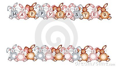 Easter row clipart picture royalty free Happy Easter Bunny Rabbit Borders Royalty Free Stock Images ... picture royalty free