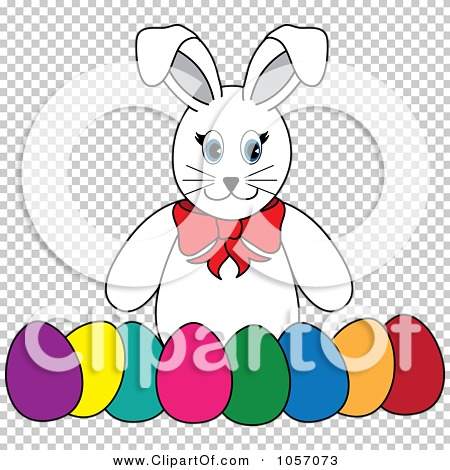 Easter row clipart banner transparent library Royalty-Free Vector Clip Art Illustration of a White Rabbit With A ... banner transparent library