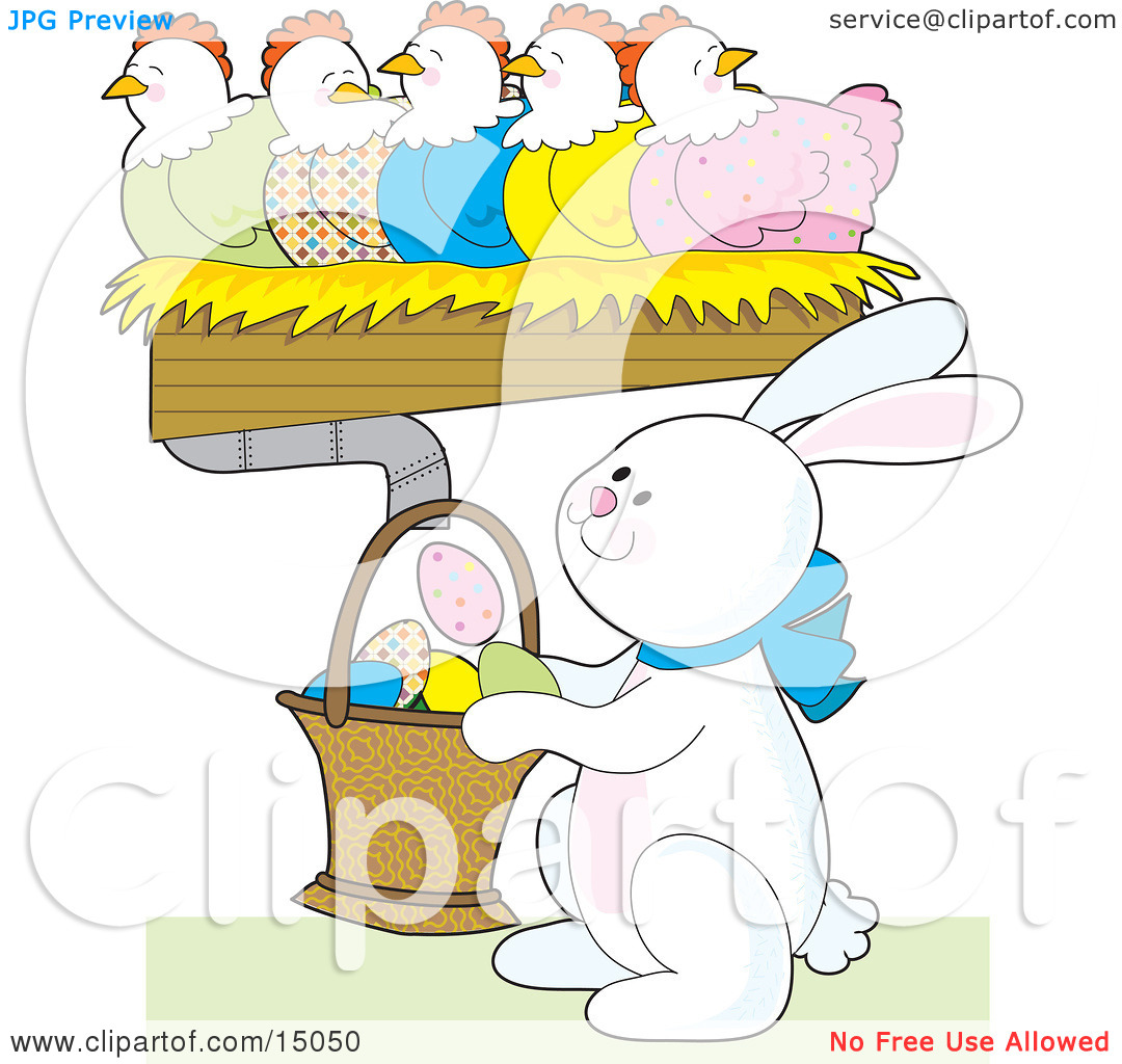 Easter row clipart clip royalty free download Busy White Easter Bunny Holding A Basket Under A Row Of Colorful ... clip royalty free download