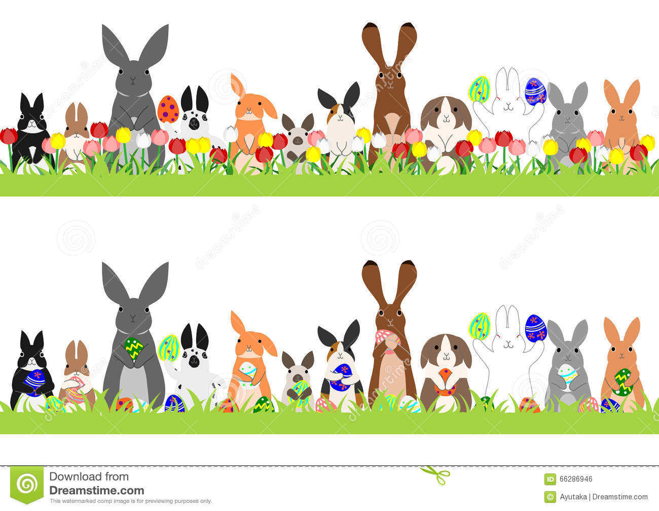 Easter row clipart image Set Of Easter Bunnies In A Row Stock Vector - Image: 66286946 image