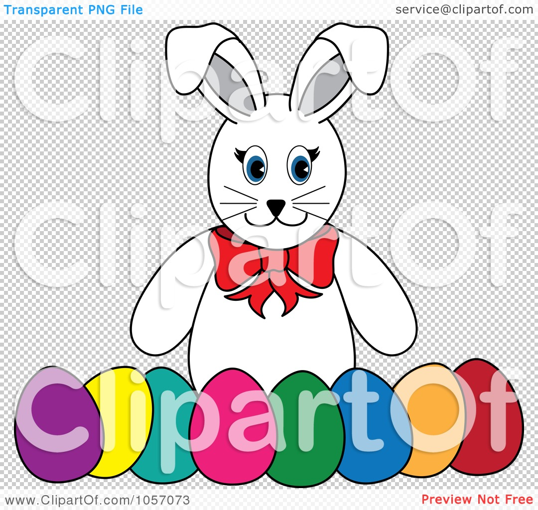 Easter row clipart vector royalty free Royalty-Free Vector Clip Art Illustration of a White Rabbit With A ... vector royalty free