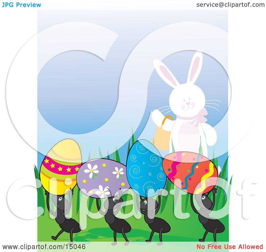 Easter row clipart clip art royalty free Cute White Easter Bunny Carrying A Basket And Waving To A Row Of ... clip art royalty free