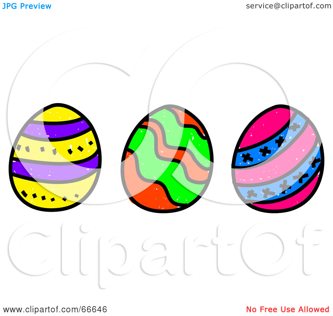 Easter row clipart clip black and white Royalty-Free (RF) Clipart Illustration of a Sketched Row of Three ... clip black and white