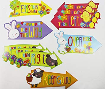 Easter signs clipart png royalty free library 15 Pack Of Easter Egg Hunt Arrows Clues Party Game Garden Signs Home  Decorations png royalty free library