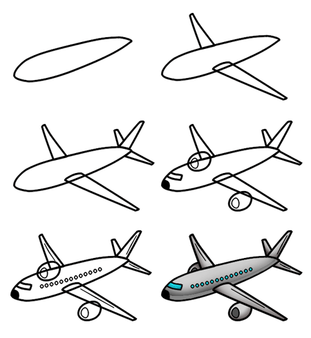 Easy plane clipart image Drawing a cartoon airplane image
