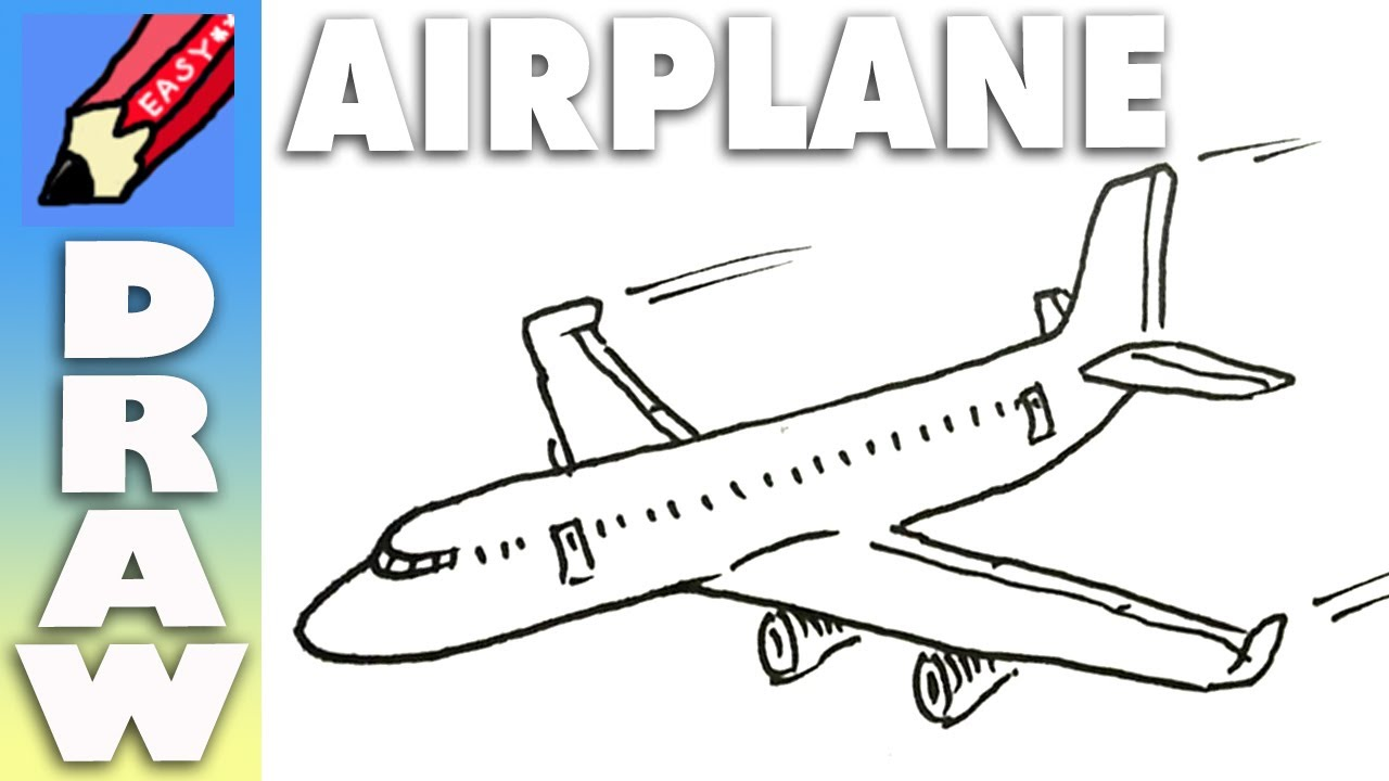 Easy plane clipart picture free Draw a plane real easy - YouTube picture free