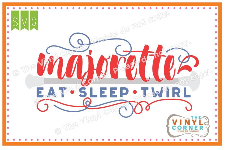 Eat sleep clipart vector royalty free stock Applique Corner Majorette Eat Sleep Twirl Cuttable SVG Clipart Design vector royalty free stock