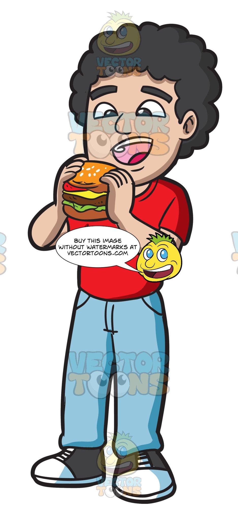 Eating hamburger clipart png royalty free stock A Man Eating A Big Burger png royalty free stock