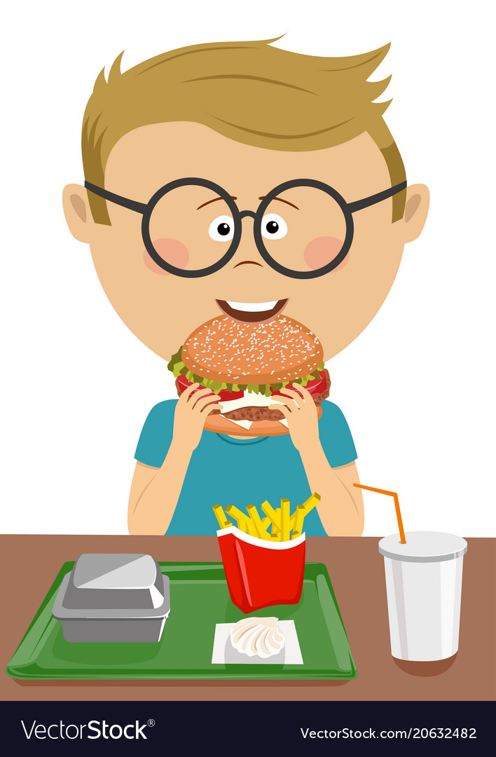 Eating hamburger clipart banner black and white library Cute schoolboy eating burger in school canteen banner black and white library