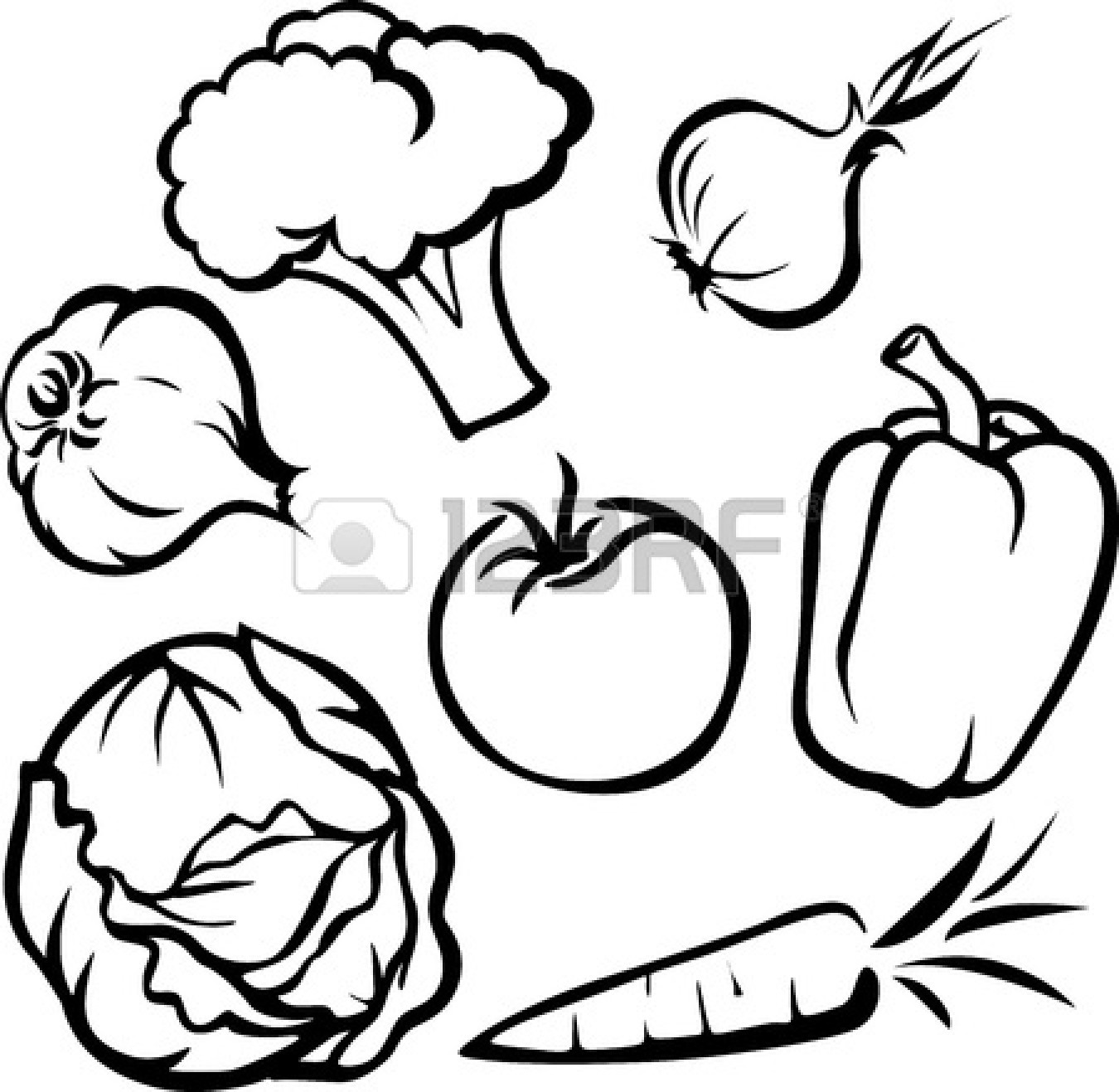 Eating fruits and vegetables clipart black and white banner black and white library Fruit And Vegetable Clipart | Free download best Fruit And Vegetable ... banner black and white library