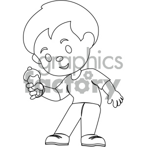 Eating ice cream clipart black and white banner transparent library black and white coloring page boy eating ice cream vector illustration  clipart. Royalty-free clipart # 406008 banner transparent library