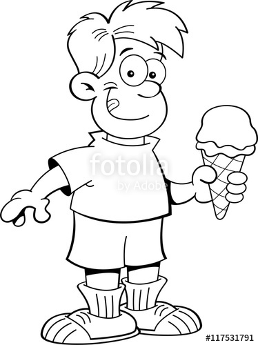 Eating ice cream clipart black and white svg transparent library Black and white illustration of a boy eating an ice cream cone ... svg transparent library