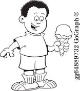 Eating ice cream clipart black and white picture freeuse Boy Eating Ice Cream Clip Art - Royalty Free - GoGraph picture freeuse