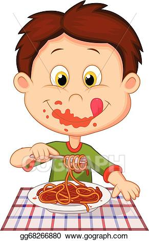 Eating pasta clipart clip art royalty free download Vector Art - Cartoon boy eating spaghetti . Clipart Drawing ... clip art royalty free download