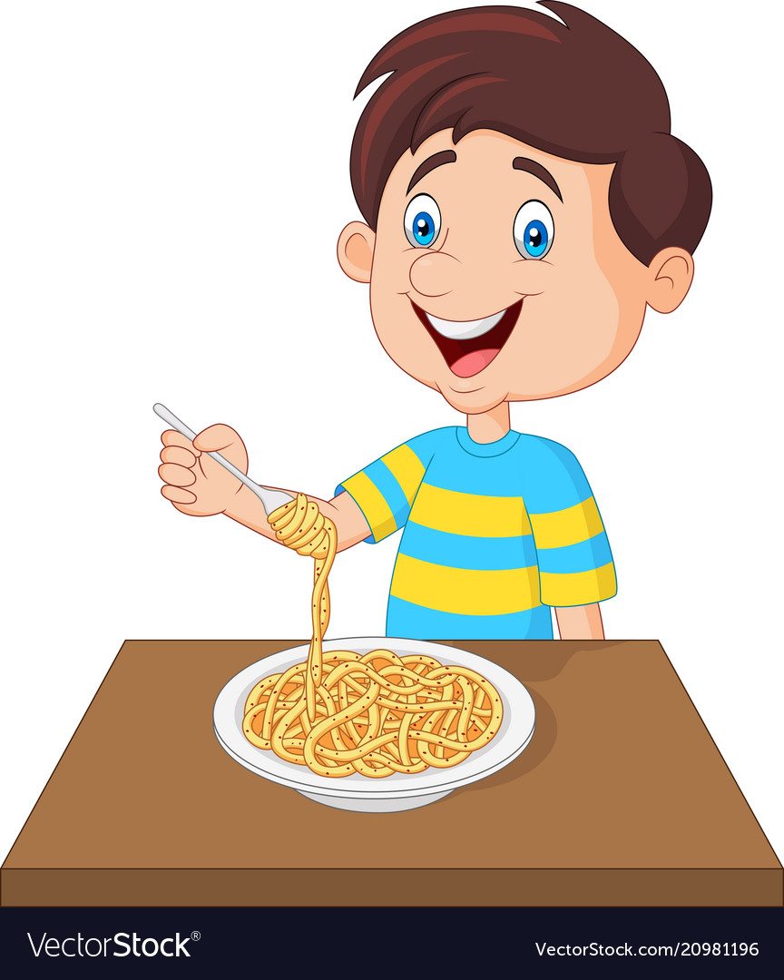 Eating pasta clipart banner black and white stock Little boy eating spaghetti banner black and white stock