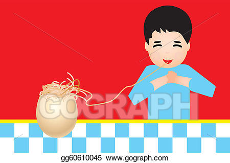Eating pasta clipart png black and white Vector Art - Retro shield with boy eating pasta. EPS clipart ... png black and white