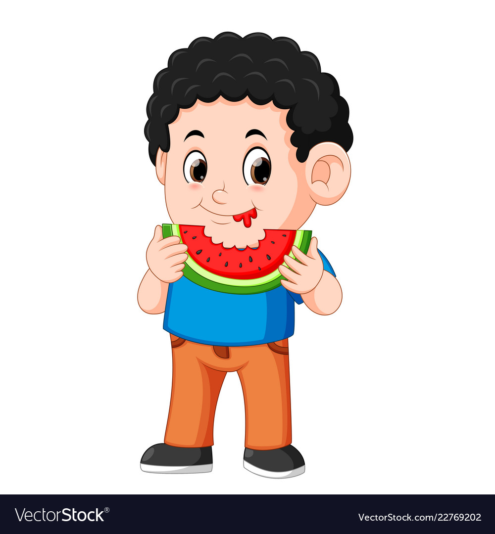 Eating watermelon clipart freeuse stock Cute little boy is eating watermelon freeuse stock