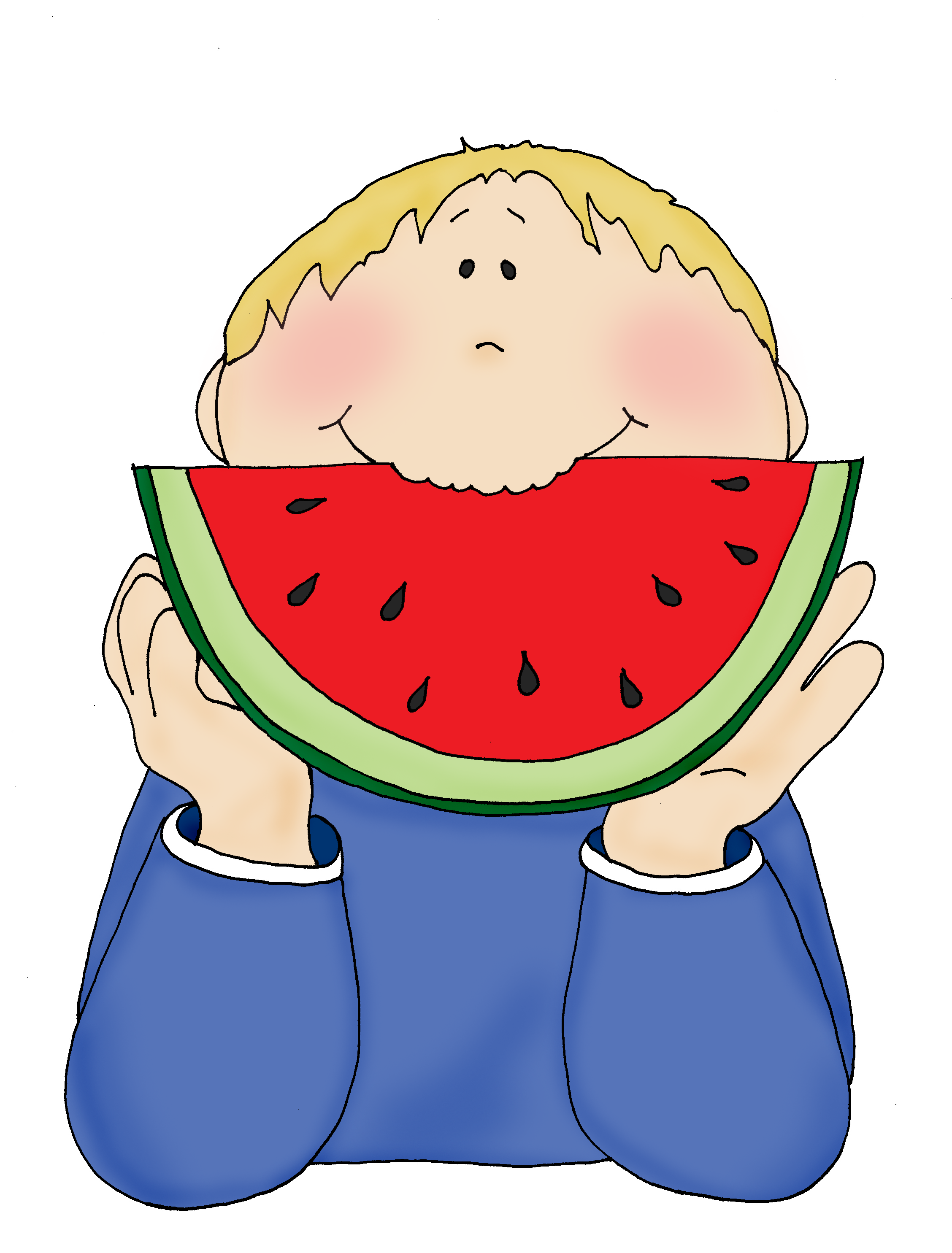 Eating watermelon clipart image black and white Pin by Mary Ellen Smith on Dearie Dolls Digi Stamps   Digi stamps ... image black and white