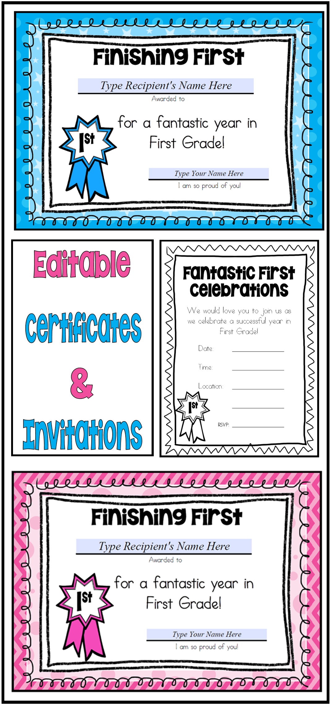 Editable money clipart black and white jpg library download End of Year First Grade Certificates – Editable   Pinterest ... jpg library download