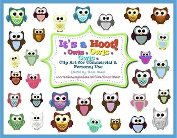 Educational clipart for commercial use image free library Owl Clipart It's a Hoot! Frames Backgrounds Borders for Commercial ... image free library