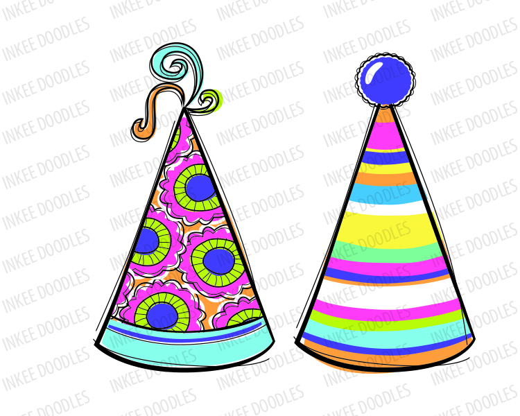 Educational clipart for commercial use png free download Doodles Party Hats -Cute kids birthday celebration clip art for ... png free download