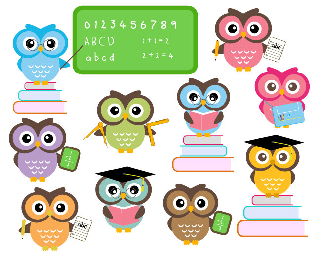 Educational clipart for commercial use png royalty free download BUY 2 GET 2 FREE - Cute Owls At School - Classroom Education Clip ... png royalty free download