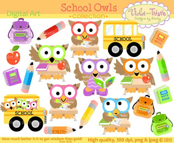Educational clipart for commercial use graphic black and white download School Owls Clip Art Owl Clip art Clipart Student Owls School Bus ... graphic black and white download